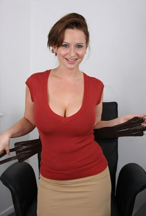 MILF office worker shows off her big tits on the spot for a pay raise