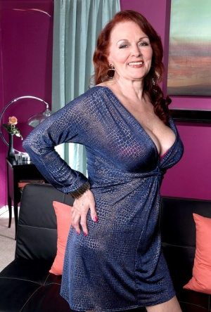 Hot granny Katherine shows saggy cleavage  panty upskirt to seduce young man