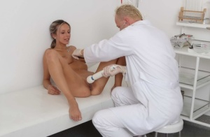 Leggy teen Tracy gets banged by her doctor during a checkup