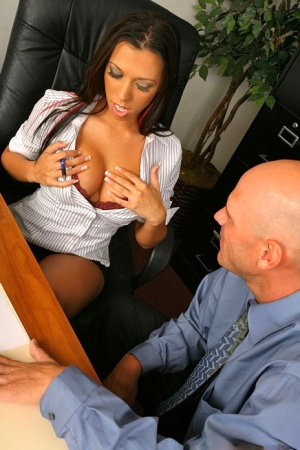 Horny secretary with big tits disrobes for a steamy office fuck with cumshot