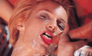 Blonde girl gets cum on her face after a day on the lake with her boyfriends
