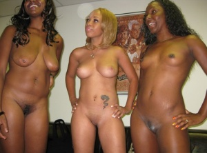 3 black chicks get naked for a white guy before sucking and fucking him