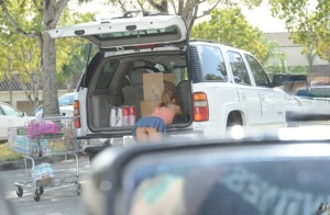 Hardcore MILF flashes naked upskirt outdoors  takes load of cum on face