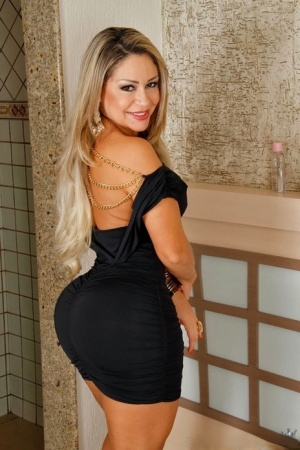 Dirty blonde Latina in black dress goes ass to mouth on the first date