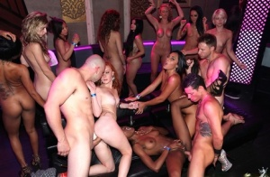 Blonde party girl flashes nude upskirt  gets cum on face in hot orgy