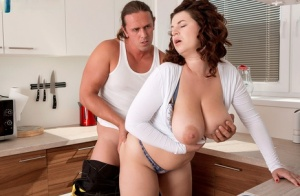 Hot fat Vicky Soleil gets huge nipples licked by plumber in kitchen seduction