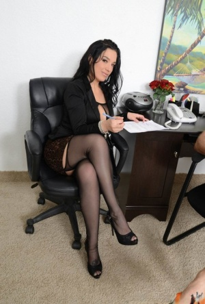 Dark haired MILF says yes to hard office fuck in black hose and sheer lingerie 38745631