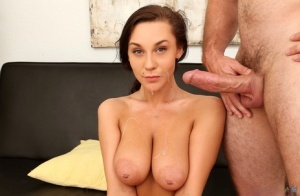 Busty brunette chick drips jizz from her chin after a hard fuck