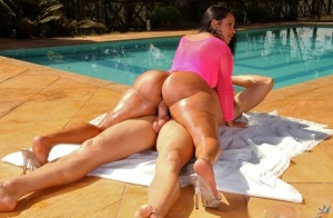 Hot Latina with fuckable huge booty oils it up naked for a poolside bang