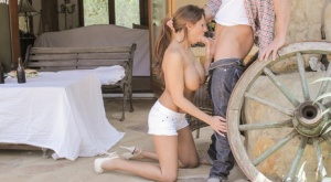 Horny MILF Alison Star lets her big tits hang to enjoy doggystyle fucking