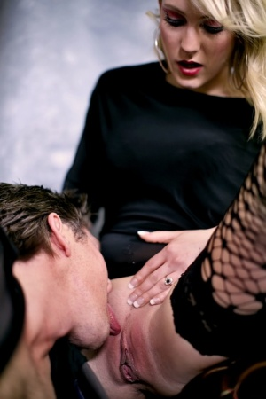 Hot blonde Carrie B gets fucked by her man in the sexiest of stockings