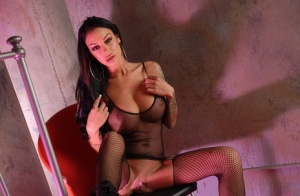 Hot Latina chick Angelina Valentine puffs on a smoke before toying her snatch