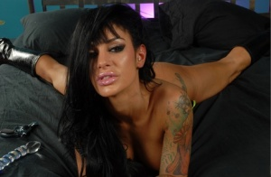 Latina chick Angelina Valentine toys her asshole and pussy at the same time