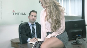 Glasses clad blonde with big tits taking cumshot after hardcore office sex 36676733