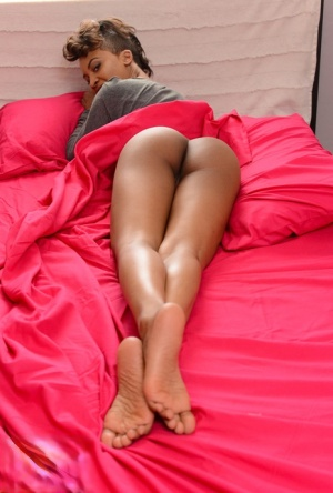 Toned MILF ebony gets a big black one in her firm chocolate round ass 56463135