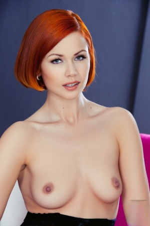 Hot redhead glamour girl Kami shows sexy tits wearing hot lingerie stockings 60874655