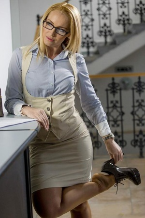 Classy blonde secretary with big tits Kathia gets fucked in the office