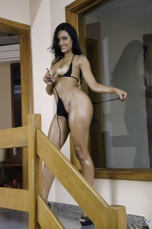 Horny Latina in high heels undressing to show big ass  get hot cum on tits