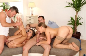 Euro girls win a free massage but it quickly turns into a foursome fuck fest