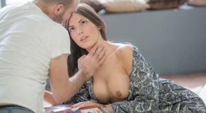 Hot brunette wife Cecilia De Lys sporting anal creampie after fucking hubby