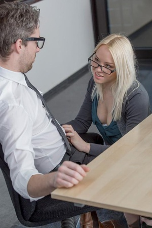 Stunning office slut Lola Taylor gets to pleasure a thick meat pole
