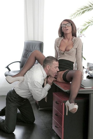 Stocking and glasses adorned Alexis Brill having shaved pussy ate in office 90830877