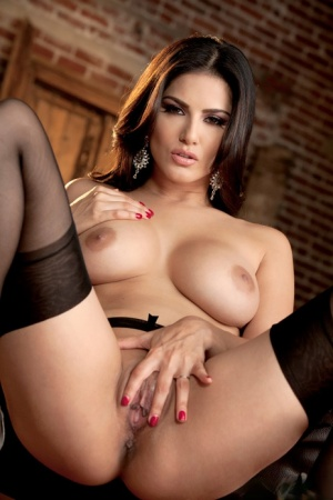 Nylon and high heel attired Sunny Leone flaunting perfect MILF tits