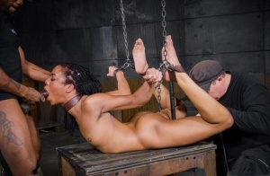 Ebony girl Kira Noir is subjected to facial abuse while being held captive 12319661