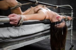 White girl Sara Luvv spills cum from her mouth after a face fuck in bondage 34927107