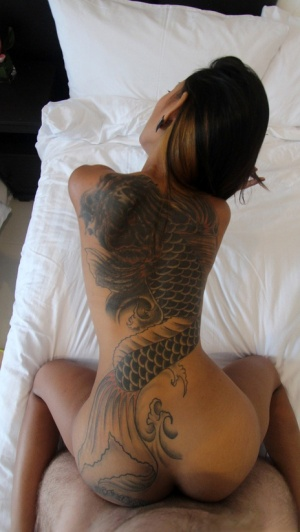 Tattooed sexy Asian gets naked to give a hot POV blowjob show pussy creampie 39149236