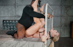 MILF slave Angel Allwood with tits bound tight choked  banged tied to the bed