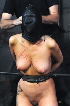 Tattooed blonde Rain Degrey is restrained for lezdom sex in a dungeon 58573412