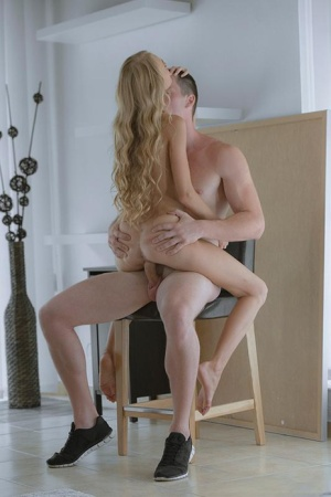 Skinny blonde Nancy A slipping off lace panties for banging of bald twat
