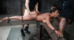 Black female Lisa Tiffian is forced to suck cock while restrained spreadeagled 71574375