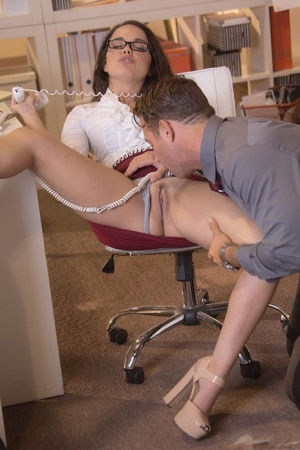 Brunette Dillion Harper in glasses gets cum on tits in reality office blowjob 71645647