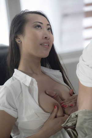 Sexy Asian office girl Sharon Lee gives tit job  fucks cowgirl in thong