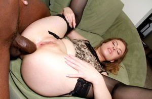 Sexy girl Sasha Swift goes ass to mouth with black cock in lingerie and nylons