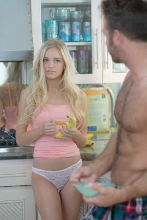 Sexy blonde female Alex Grey seducing sex in kitchen in white lace panties