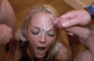 Blonde slut from Britain gets cum dumped on face at a bukkake party