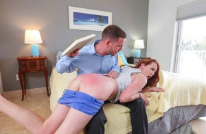 Naught redhead Leigh Rose gets a spanking painful fuck for being a bad girl 29444048