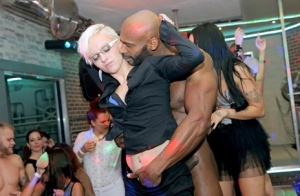 Hot busty babes kiss cock  fuck doggystyle at hot interracial CFNM party
