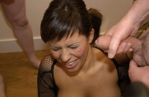 Latina slut Scarlett March gets her face covered in sperm during a gangbang 52143144