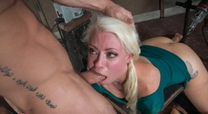 Blonde sex slave Lorelei Lee gets spit roasted by a man and a machine