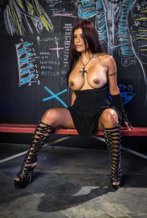 Big titted Latina chick Gabby Quinteros drips jizz from a black cock down chin 91765187