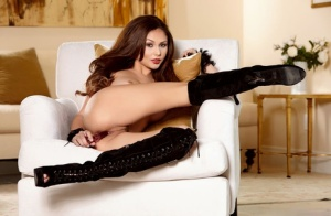 Gorgeous solo girl Ariana Marie toys her pussy in over the knee boots 12516335