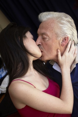 Brunette chick Anne Marie pleasures her silver-haired sugar daddy