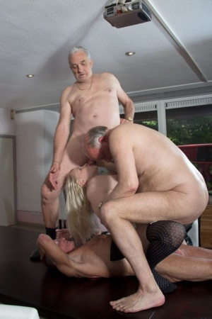 Young blonde maid Lolita Taylor gets gangbanged by horny grandfathers