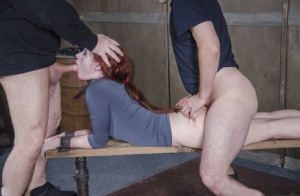 Bound slave Violet Monroe forced to deepthroat and ass fucked in BDSM session