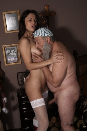 Young girl in red Santa boots gives her sugar daddy sex for Christmas 65509845