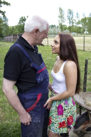 Beautiful young girl seduces her step-grandfather at the farm in rubber boots 73755108